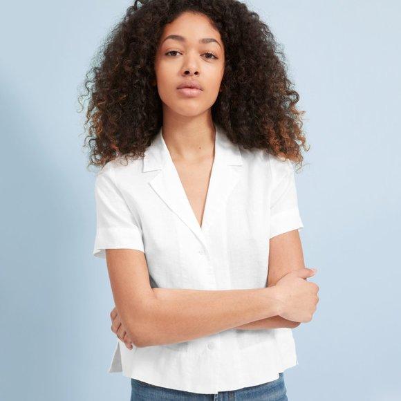 Everlane Tops - Everlane Linen Short Sleeve Notch Shirt